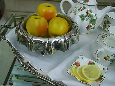 Shabby Chic Victorian Derby Silver Draped Compote Tazza Footed Center Tray Bowl