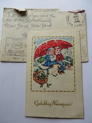 vintage 1944 christmas new year card dutch greeting postcard wwii era x93