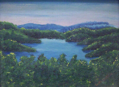Vintage Mountain Lake Oil On Board Painting - High Quality Artist Signed Work