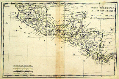1780 Mexico & Central America, Bonne - Antique Black & White Map