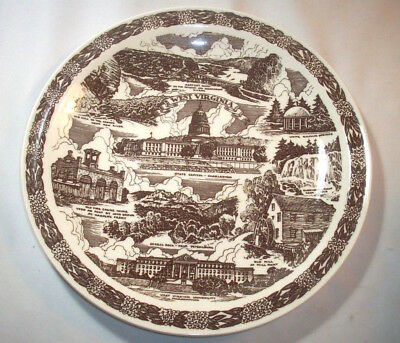 Vernon Kilns Souvenir Collector State Plate: WEST VIRGINIA: Brown: EXC: NR