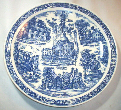 Vernon Kilns Souvenir Collector Plate: MASSACHUSETTS Bay State: Blue: EXC: NR