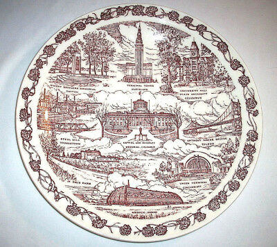 Vernon Kilns Souvenir Collector State Plate: OHIO: Red: EXC: NR
