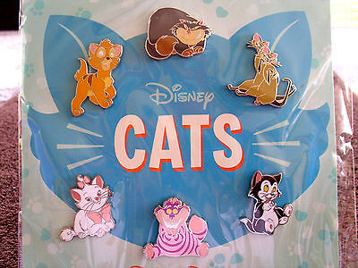 Disney * CATS * New 6 Pins Booster Pin Set - Si & Am Lucifer Cheshire Figaro etc