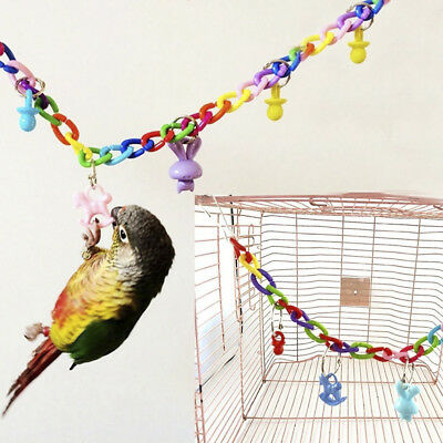 Colorful Bird Toy Parrot Swing Cage Toys For Parakeet Budgie Cockatiel Lovebird
