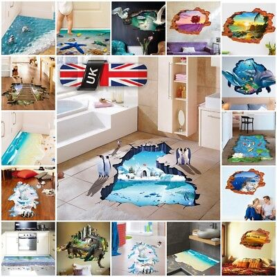 3D Beach Floor Wall Sticker Removable Mural Decals Vinyl Art Bathroom Decor Shop