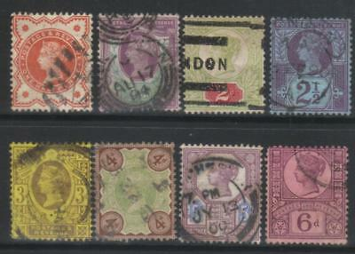 Gb 1887-1900 Jubilee Issue 8 Used Values Cat £80+