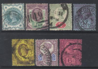 Gb 1887-1900 Jubilee Issue 7 Used Values Cat £65+