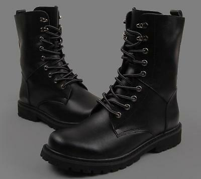 Mens Leather Tactical Lace up Ankle Combat Militay Boots Punk Shoes Black/Brown