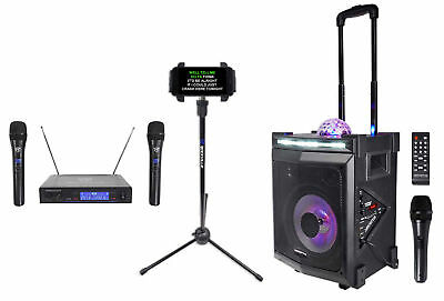 Vocopro LIGHTSHOW-MAGIC Bluetooth Karaoke Machine System+(3) Mics+Tablet Stand