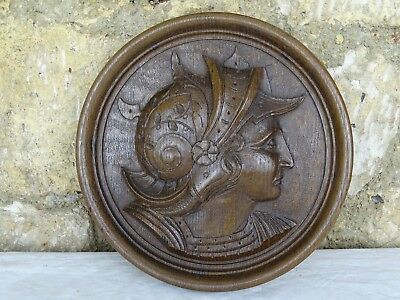 Antique French Hand Carved Wooden Medallion -  Soldier's Head from Antiquity