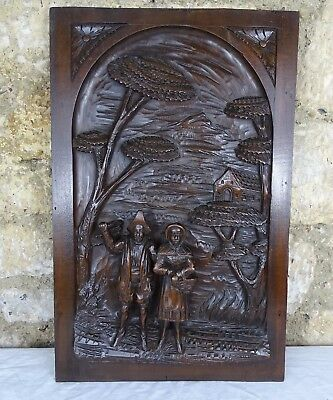 Antique French Deep Carved Architectural Panel Door Solid Walnut Wood - a Couple