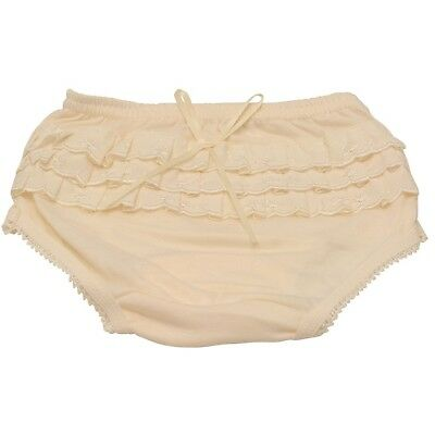 Piccolo Little Girls Ivory Embroidered Ruffle Detail Scallop Trim Underwear 3T