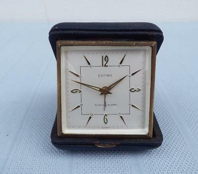 Vintage 60's very rare and unique Estyma musical travel alarm clock-Germany