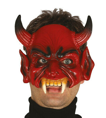 Adult Red Devil Half Face Mask With Horns Halloween Demon Costume