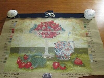 """DMC """"Strawberries and Cream""""  Printed Tapestry Canvas only 35 x 43 cms"""
