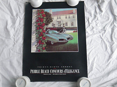 1989 Pebble Beach Concours Poster- BAT ALFA ROMEO-NEVER MOUNTED-David Lord-GOOD!