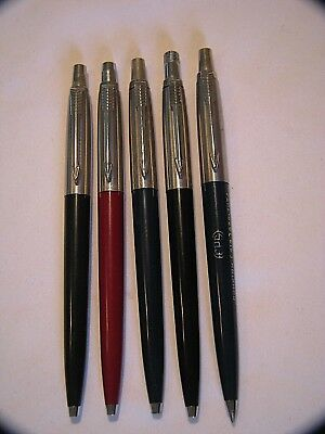 Vintage Lot Of Five Parker Ballpoint Pens All Brass Threads