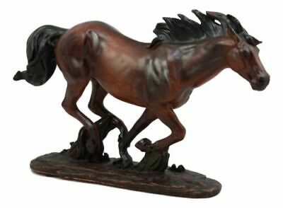 """Large Wild Stallion Running Horse Statue 13.25""""L Horse Decor In Faux Wood Resin"""