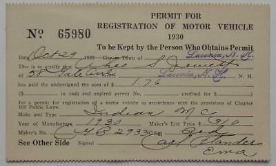 1930 Registration of Motor Vehicle Laconia New Hampshire Indian Motorcycle