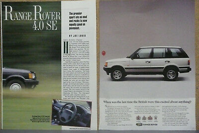 1995 Range Rover 4.0 SE Ad and Road Test Print Ad Lot (2)