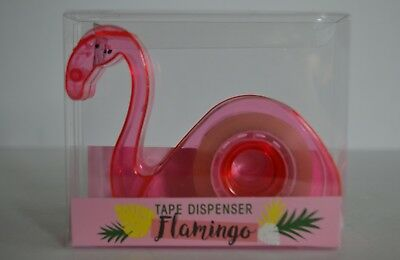 Flamingo Hot Pink Tape Dispenser Plastic Home Office Stationery Novelty Gift
