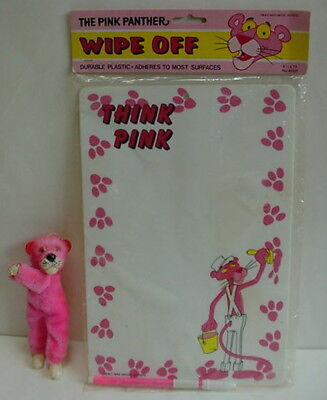 Vintage 1982 Pink Panther Painting Memo Board THINK PINK & Clip On Hugger Plush
