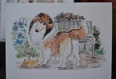 Sheltie .Post cards made from my original watercolor.Set of 4 .LOOK