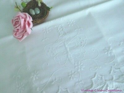 ROMANTIC AnTiQuE EMBROIDERED BUTTERFLY MONOGRAM * K * Vintage BRIDAL PILLOWCASE