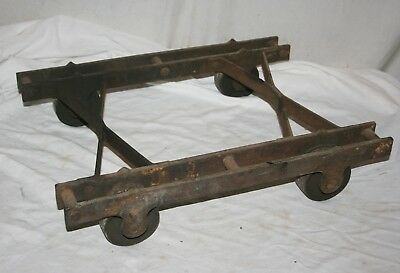 ANTIQUE ALL IRON WHEELED DOLLY CART ENGINE CART HIT-n-MISS STEAMPUNK INDUSTRIAL