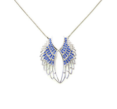 Angel Wings Necklace Gorgeous Sapphire Color Blue Rhinestone Crystal