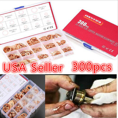 300pcs 12 Sizes Solid Copper Crush Washers Assorted Seal Flat Ring Hardware kit