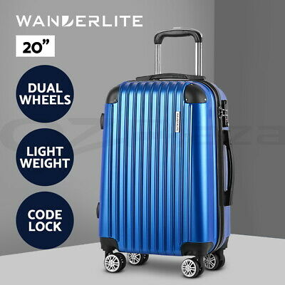 "20%OFF【$39.9】20"" Blue Luggage Sets Suitcase Trolley Travel Hard Case Lightweight"