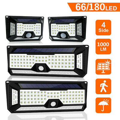 2PCS 136LED 4Side Solar PIR Motion Sensor Wall Light Outdoor Garden Street Lamp