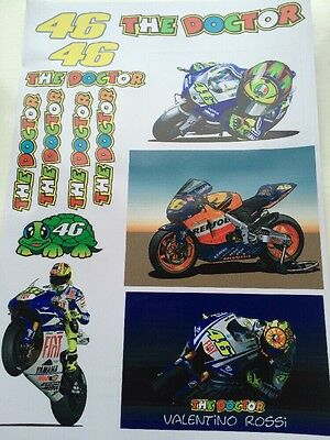 Valentino Rossi Stickers - Large Decal Sticker kit (A4 SIZE SHEET) Moto Gp