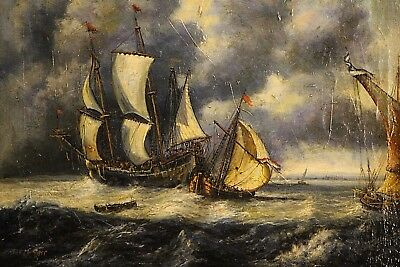 Gilt oil painting Dutch antique seascape ships at sail 18th century Signed GREEF
