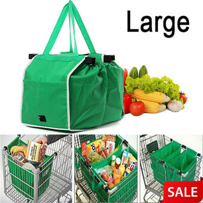Grocery Grab Bag Fabric Shopping Carrier Clip-To-Cart Trolley Foldable Tote Bag