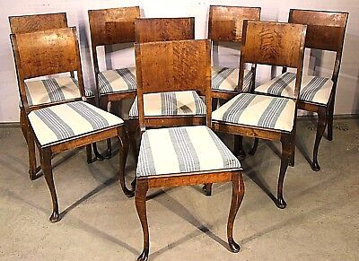 8 Swedish Art Deco blonde satin birch dining chairs drop in seats 1920 originals