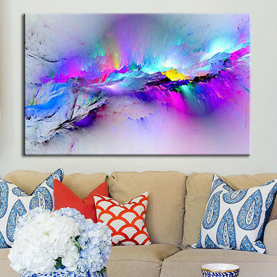 Framed Modern multicoloured blue Canvas Wall Abstract Art Picture Large Print US
