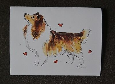 Sheltie .Post cards from my original watercolors .Set of 5 .LOOK!