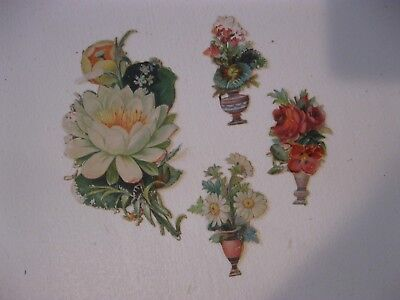 Victorian Trade Card 1800s Die Cut Embossed Flowers Vase Scraps Scrapbook C