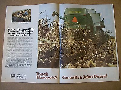 Original 1977 John Deere 7700 Combine 2-Page Magazine Ad - Tough Harvests?
