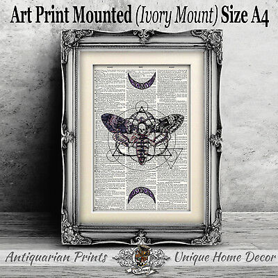 Death Moth Art Print on Antique Dictionary Book Page Tattoo Wall Decor Picture
