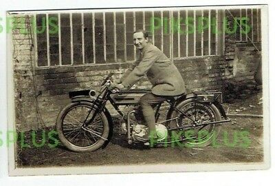 Old Postcard Triumph Motorcycle & Rider Real Photo Vintage 1922