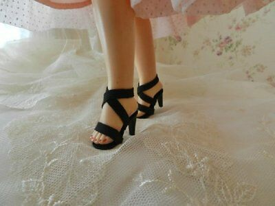 """Black High Heel Doll Shoes for 15"""" Miss Revlon and Others"""
