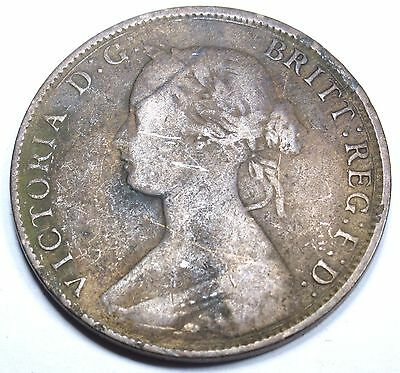 1864 Long 6 Canada New Brunswick Large Cent Penny Antique Canadian Coin Currency
