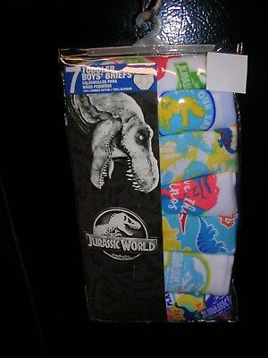 "2018  ""JURASSIC WORLD""  Boys - 7 PRS.TODDLER  BRIEFS/UNDERWEAR SIZE 4T  NWT."
