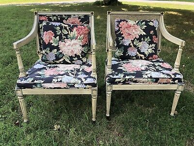 French Country Louis XVI Fruitwood Floral Living Room Chairs Pair Circa 1930's