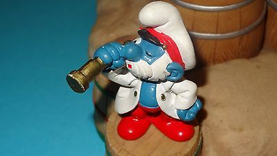 Smurfs Sea Captain Papa Smurf with Telescope Rare Vintage Display Germany Figure