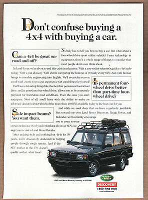"""1997 Land Rover Discovery Ad """"Don't confuse buying..."""" Print Ad"""